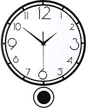 AIOJY Swinging Round Clock Retro Black Pendulum