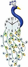 AIOJY Vintage Wrought Iron Peacock Mute Wall Clock
