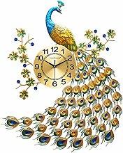 AIOJY Wall Clock Clock Flower Metal Silent Metal