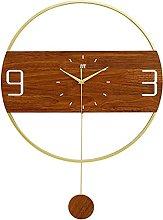 AIOJY Wall Clocks Metal Round Wall Pendulum Clock