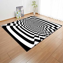 AIOYENS Abstract Visual Black and White Art Carpet