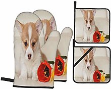 Airmark Oven Mitts and Pot Holders 4pcs Set,Corgi