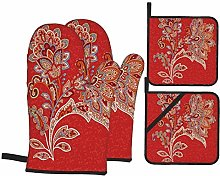 Airmark Oven Mitts and Pot Holders 4pcs Set,Floral