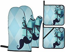Airmark Oven Mitts and Pot Holders 4pcs Set,Happy