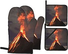 Airmark Oven Mitts and Pot Holders 4pcs Set,Lava