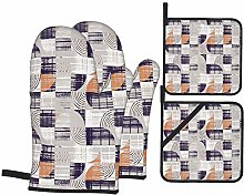 Airmark Oven Mitts and Pot Holders 4pcs Set,Modern