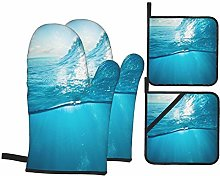 Airmark Oven Mitts and Pot Holders 4pcs Set,Ocean