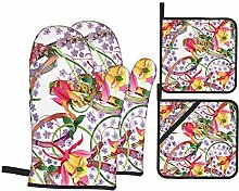 Airmark Oven Mitts and Pot Holders 4pcs Set,Red