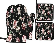Airmark Oven Mitts and Pot Holders 4pcs Set,Rose