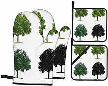 Airmark Oven Mitts and Pot Holders 4pcs Set,Tree