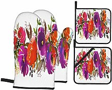 Airmark Oven Mitts and Pot Holders 4pcs Set,Violet