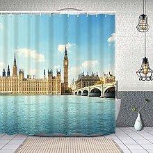 Airmark Waterproof Shower Curtain,big ben houses