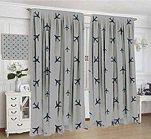 Airplane Lihgtproof Curtains, Diagonal Stripes