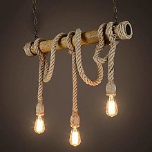 AIRUI Novelty 3 Head Chandelier Rope Pendant Light