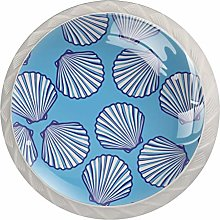 AITAI 貝殻 Blue Beautiful Round Cabinet Knob