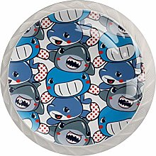 AITAI サメ Cute Round Cabinet Knob 4 Pack