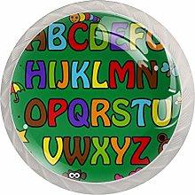 AITAI Alphabet Green Round Cabinet Knob 4 Pack