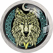 AITAI Wolf Round Cabinet Knob 4 Pack Pulls Handles