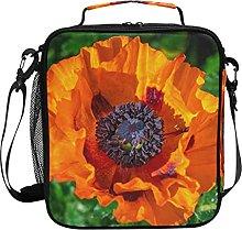 AJINGA Blooming Orange Poppy Flower Lunch Bag