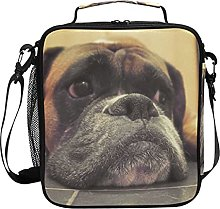 AJINGA Brown Black Dog Floor Lunch Bag Insulated