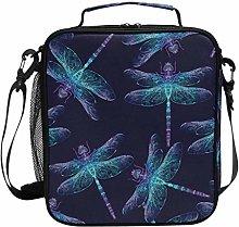 AJINGA Gray Wolf Sky Dragonfly Lunch Bag Insulated
