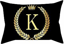 AKAIDE Pillow Cover Classic Black and Gold Letter