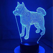 Akita Samoyed Husky Dog 3D Lamp 7 Colors Changing