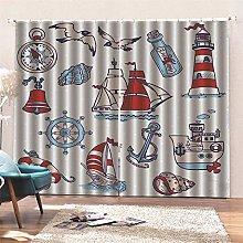 AKLIGSD Blackout Curtain Nautical Cartoon Pencil