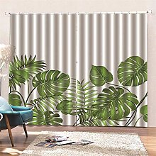 AKLIGSD Blackout Curtain Palm Leaves Pencil Pleat