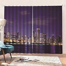 AKLIGSD Window Curtain, City Night Scene Pencil