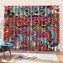 AKLIGSD Window Curtain Color Graffiti Pencil Pleat