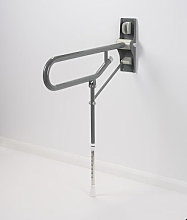 AKW Mid Grey Fold Up Toilet Support Grab Rail with