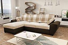 Alabama Corner Sofa Bed Black and Grey or Brown