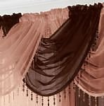 Alan Symonds Chocolate Brown Voile Curtain Swag