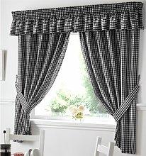 Alan Symonds - Gingham Kitchen Curtains Black