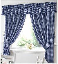 Alan Symonds - Gingham Kitchen Curtains Blue