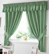 Alan Symonds - Gingham Kitchen Curtains Green
