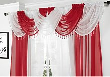 Alan Symonds Voile Curtain Swag Beaded Crystals Red