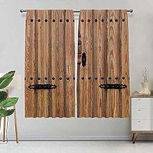 Alandana Rustic Curtains, Wooden Door with Iron