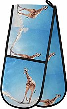 ALARGE Double Gloves Mitts Funny Animal Giraffe
