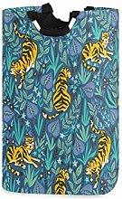 ALARGE Laundry Basket Boho Animal Tiger Leaves