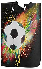 ALARGE Laundry Basket Watercolor Football Soccer