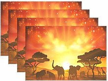 ALARGE Place Mats Set of 4, African Elephant