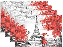 ALARGE Place Mats Set of 4, Paris Eiffel Tower