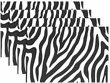 ALARGE Place Mats Set of 6, Abstract Animal Zebra