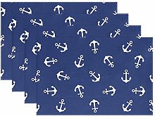 ALARGE Place Mats Set of 6, Nautical Anchor