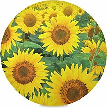 ALARGE Round Placemat,Floral Flower Sunflower