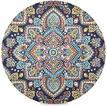 ALARGE Round Placemat,Indian Floral Paisley Ethnic