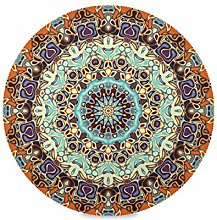 ALARGE Round Placemat,Indian Tribal Floral Mandala