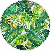 ALARGE Round Placemat,Tropical Beach Palm Leaves